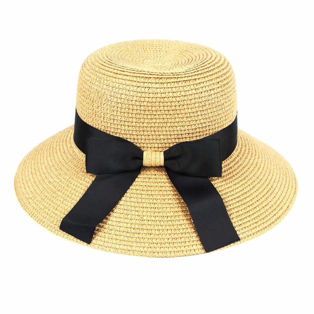 Floppy Foldable Baby Girls Straw Beach Sun Summer Hat Ribbon Boater Hat