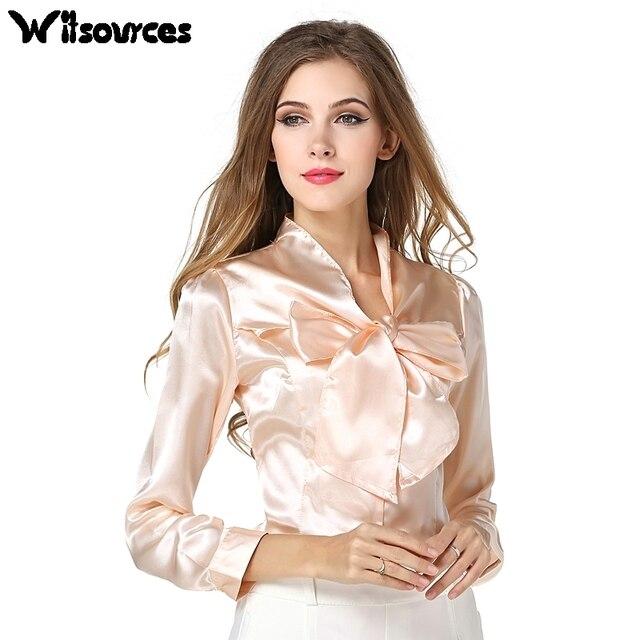 58958f8d34c94d Witsources kobiety poliester błyszczące satyna biuro bluzki z big bow  collar z długim rękawem casual bluzka