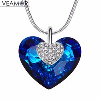 Veamor Classic Blue Heart Pendant Necklaces Heart Of Ocean Necklace Fashion Women Jewelry Original Crystals From