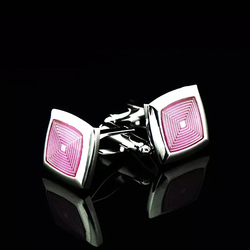 Bridegroom Wedding Party Business Men French Shirts Cuff Links Violet Purple Enamels Cufflinks Silvery Cufflink With Gift Bag in Tie Clips Cufflinks from Jewelry Accessories