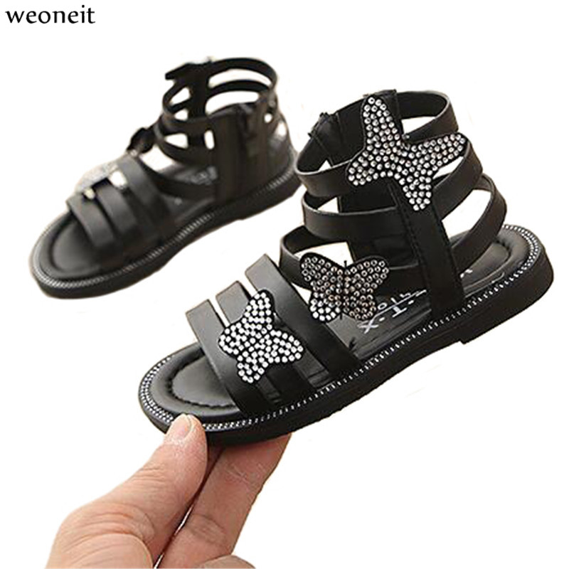 Weoneit Summer Style Children Sandals Girls Princess Beautiful Butterfly Kids Shoes Flat Sandals Baby Girls Roman Shoes