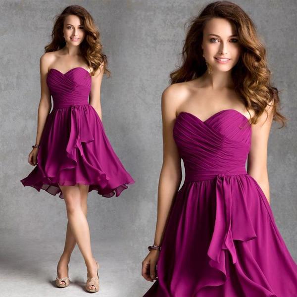 9b51bc191b77 Vestido De Festa 2015 Sweetheart Strapless Short Length Purple Chiffon Bridesmaid  Dresses Party wedding Dress Short