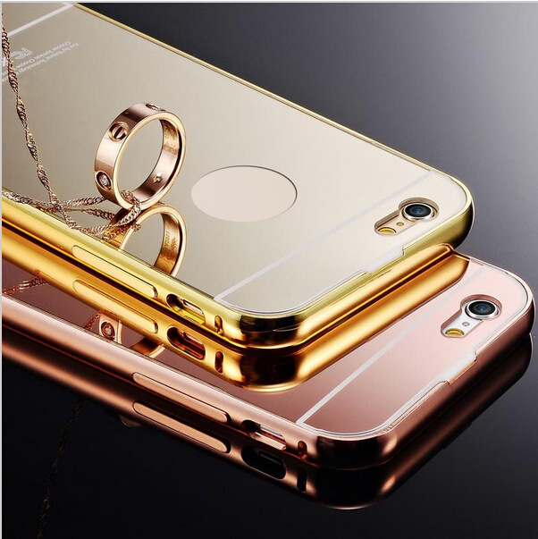 Mirror Case For iPhone 5 Metal Aluminum Alloy Frame Mirror Acrylic Plastic Back Cover Case For iPhone 5S SE Mirror Coque fundas