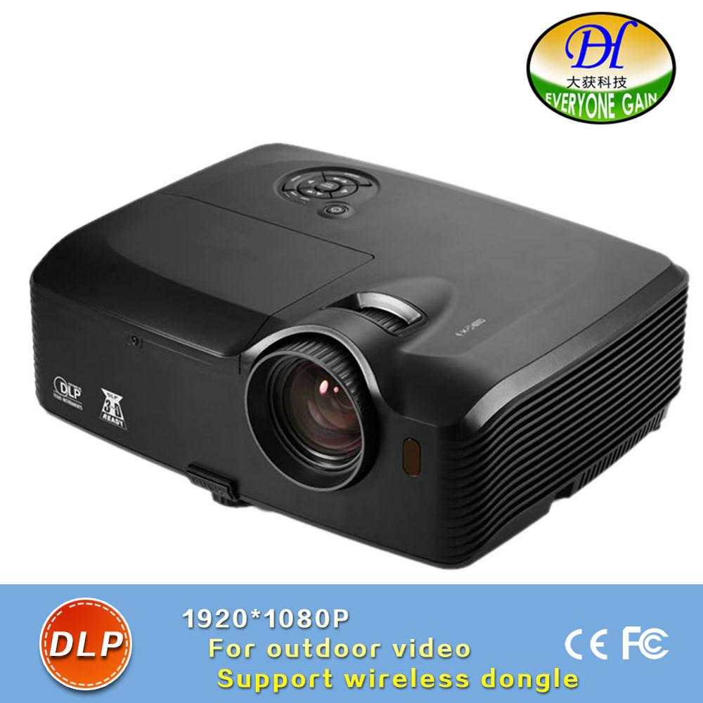 DH-8002 Highlight Full HD 1024*1080P Video Proyector DLP 4000 lumens Outdoor Projector Built in Speaker support 1920*1200 Beamer
