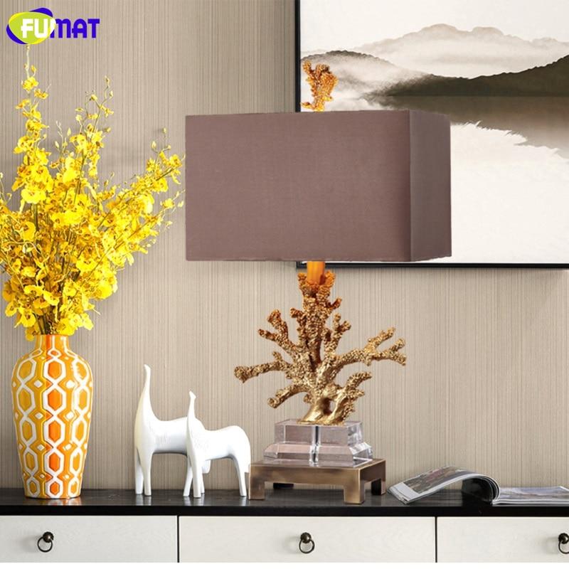 FUMAT Crystal Base Coralline Frame Table Lamps Luxury Gold Desk Light LED E27 3
