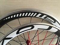 23 mm ancho 50 mm carbón del remachador con aleación de superficie de frenado ruedas de bicicleta 700c 50 mm * 23 mm aleación camino del carbón del Wheelset