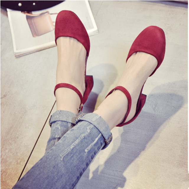 2017 Autumn Women Heels Fashion Sandals Hollow Thick With Square Head Word Buckle Shoes Red Female Chaussure Femme 35-39