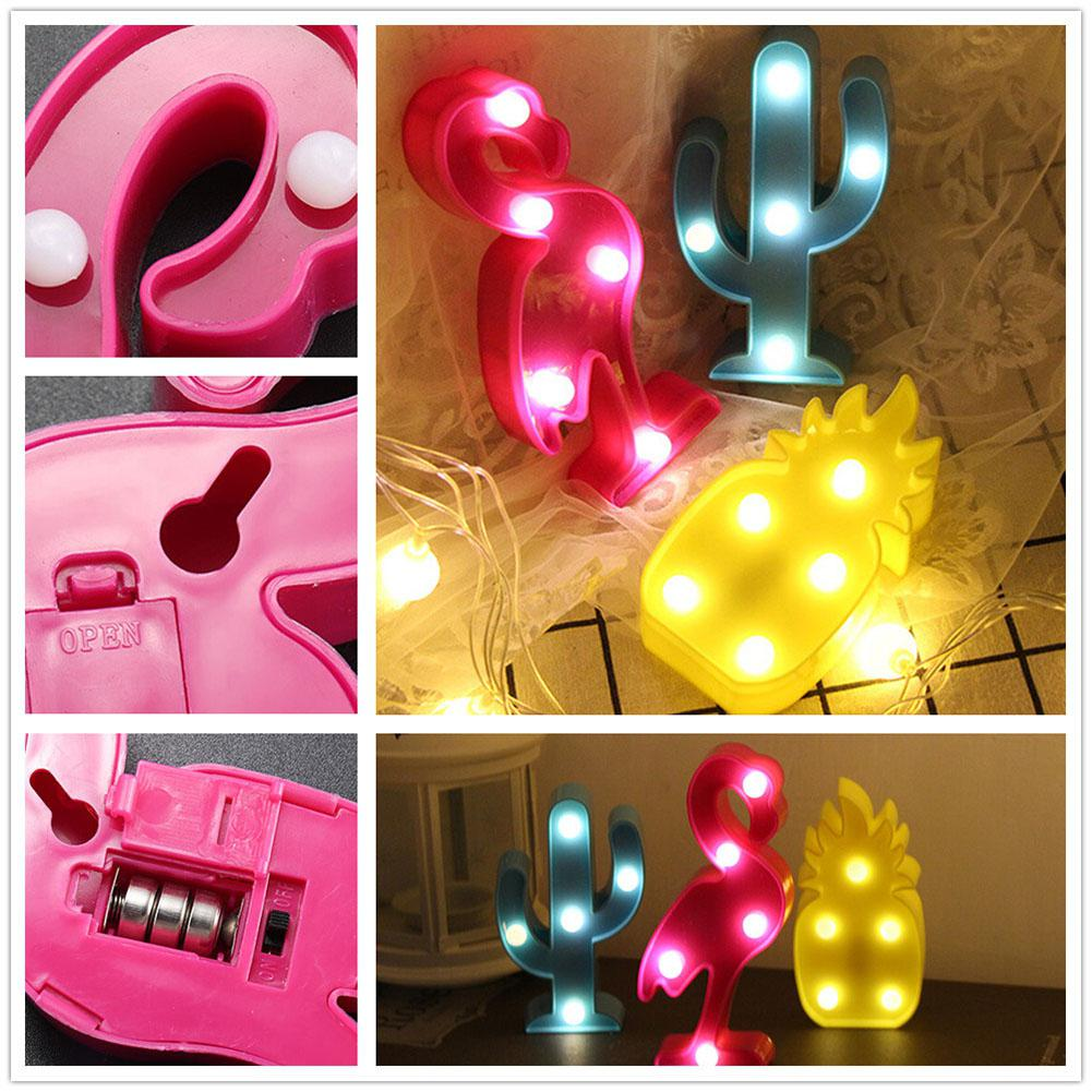 3D Desk Lamp Cartoon Pineapple/Flamingo/Cactus Modeling Table Night Light LED Lamp Home Office Decoration Gifts