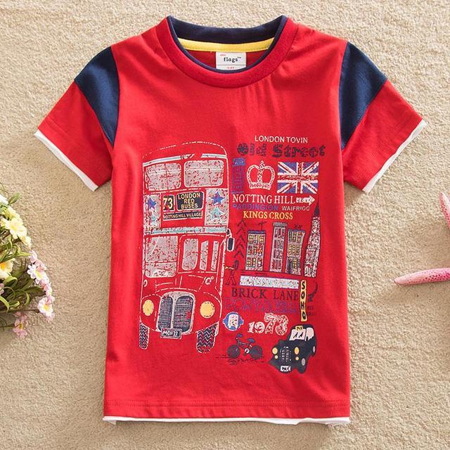 Bandeiras frete grátis primavera verão 2016 baby & kids padrão geométrico menino rodada colarinho da camisa T de manga curta T-shirt de algodão B8111