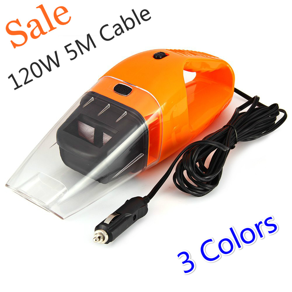 120w 5m cable portable car vacuum cleaner abs handheld mini super suction wet and dry dual use hepa filter for car care - Handheld Vacuum Reviews