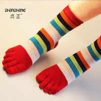 6 pairs/lot Brand New Adult Women Cotton Socks Colorful Stripes Five Finger Socks Cute Deodorant Toe Socks Size 35 39