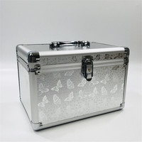 Professional Aluminium Alloy Make Up Box Butterfly Pattern Makeup Case Beauty Case Cosmetic Bag Multi Tiers