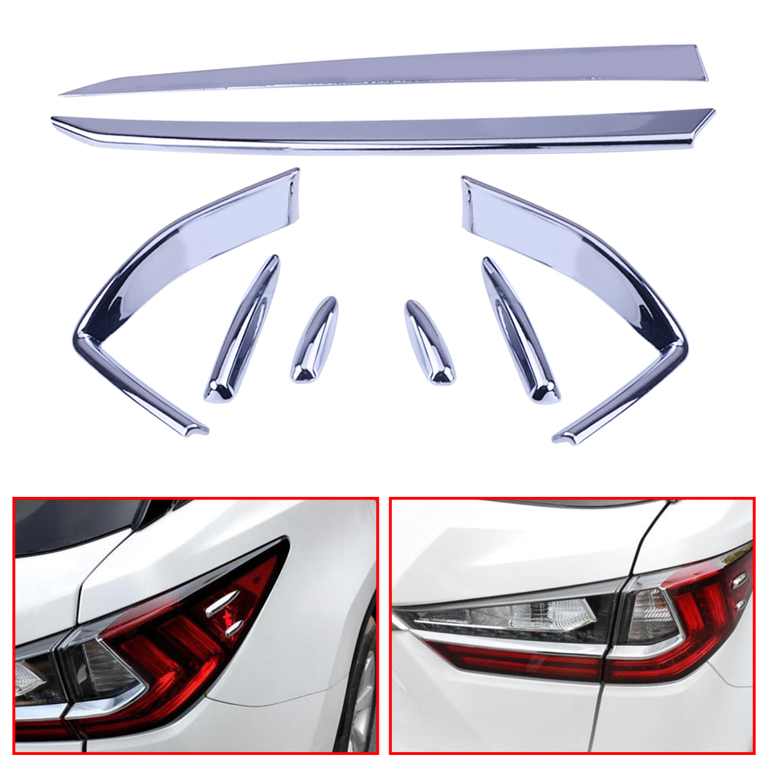 CITALL 8pcs Car Styling Chrome Plated Rear Fog Lamp Frame Cover Trim fit for Lexus RX