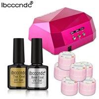 Ibcccndc Nail Art Manicure Tools Set 36W UV LED Lamp 6pcs Flower Nail Gel polish Top Coat Base Coat Varnish For Nail Art Design