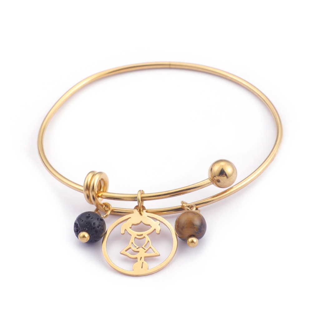 Adjustable Bracelets & Bangles For Women Jewelry With Lady Charms Gold S Stainless Steel DIY Style