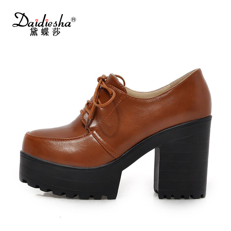 2017 Famous Women Pumps Shoes Retro Platform Super High Heel Lace-up Round Toe Casual Pump Spring Autumn Top Sale Thick Heels lace cut out peep toe high thin heel black low platform pumps for woman in spring autumn hot sale big size 35 42