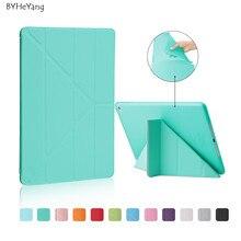 BYHeYang Cubierta para Apple iPad 6 Caso de Cuero Elegante de Múltiples Forma Plegable Auto de Despertador Caso Del Sueño para el ipad de Aire 2 Cubierta de Tpu