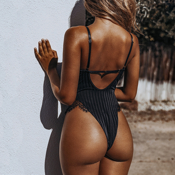 2019 New Sexy Halter lace bodysuit Women Skinny 2019 hollow out black jumpsuit romper body feminino overalls mesh playsuit 2
