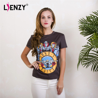 LIENZY Summer Funny T Shirt Short Sleeve Guns N Roses Skull Vintage Grey Female Tshirt Tops