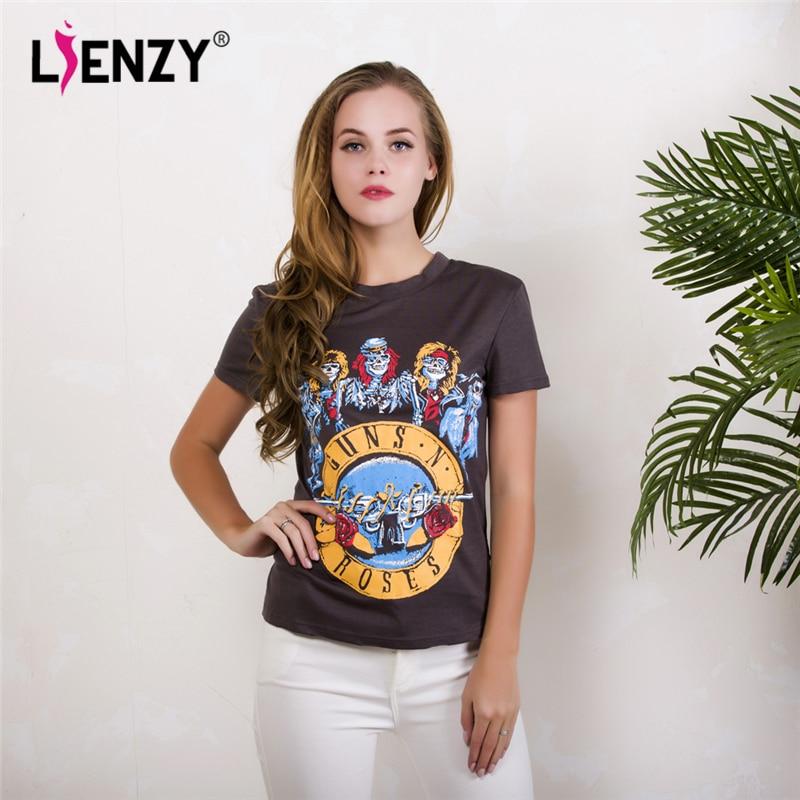 5de3261cd LIENZY Verano Divertido Camiseta Guns N Roses Cráneo Vintage Gris de Manga  Corta Mujer Camiseta Tops Tamaño grande en Camisetas de La ropa de las  mujeres en ...