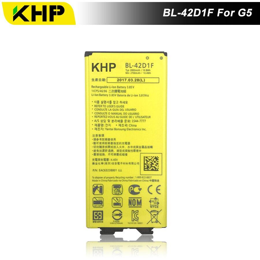 2017 KHP NOVO 100% BL-42D1F Bateria Do Telefone Para LG G5 H868 H860 F700K H850 Real 2800 mAh Substituição de Alta Qualidade Móvel bateria