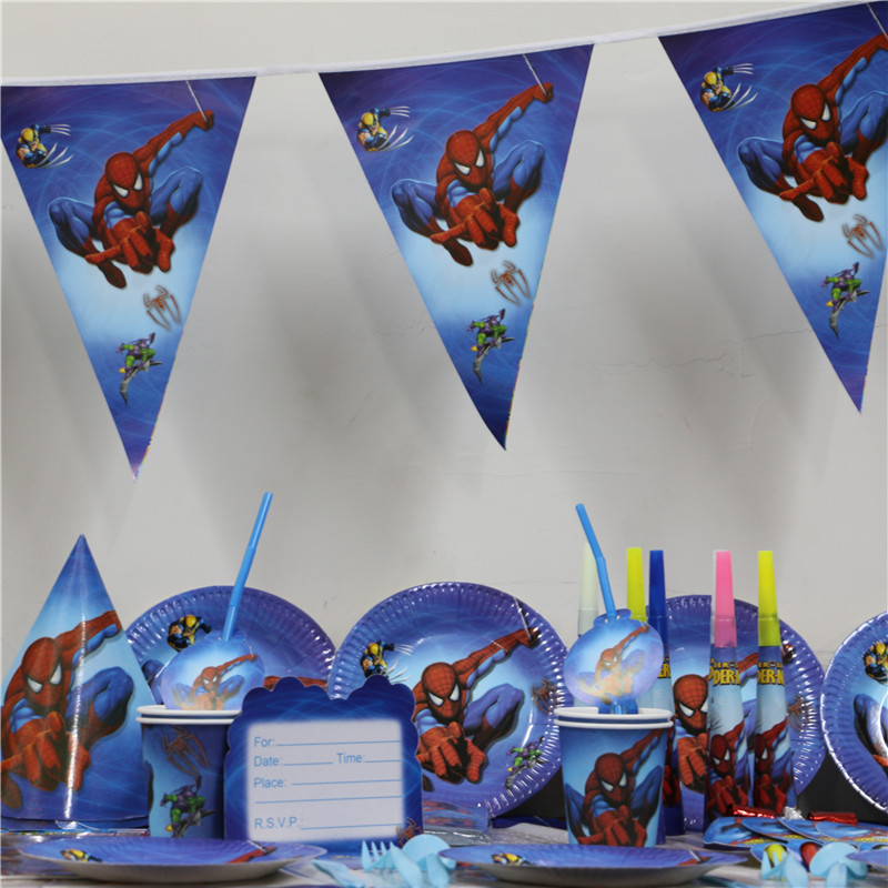 61pcs/lot cartoon spiderman <font><b>princess</b></font> paper plate <font><b>cup</b></font> napkin banner kids birthday party decoration festival supplies 20 people