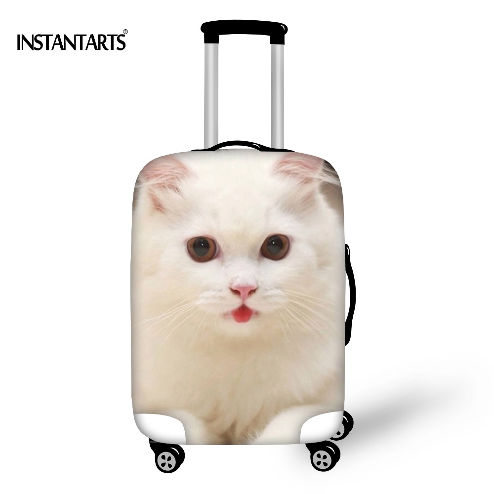 INSTANTARTS Thick Elastic Luggage Protective Covers 3D Cute Cat Printed Luggage Cover for 18-30 Inch Suitcase Travel Accessories