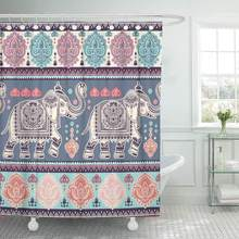Shower Curtain with Hooks Boho Vintage Graphic Indian Lotus Ethnic Elephant African Tribal Coloring Book Paisley Bathroom(China)