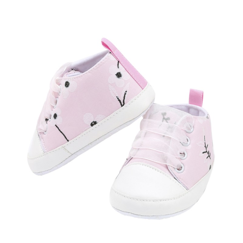 Newborn Baby Canvas Plum Print Shoes Girls Ribbon Indoor Shoes Kid Anti-slip Chic Crib Child Sports Baby Sneakers