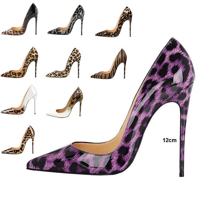 Women Purple LEOPARD Prints Romyed High Heels Pumps Kim Kardashian Shoes  Thin Heel So Kate Red Beige Bottom Shoes Plus Size34-44 d16454c22c49