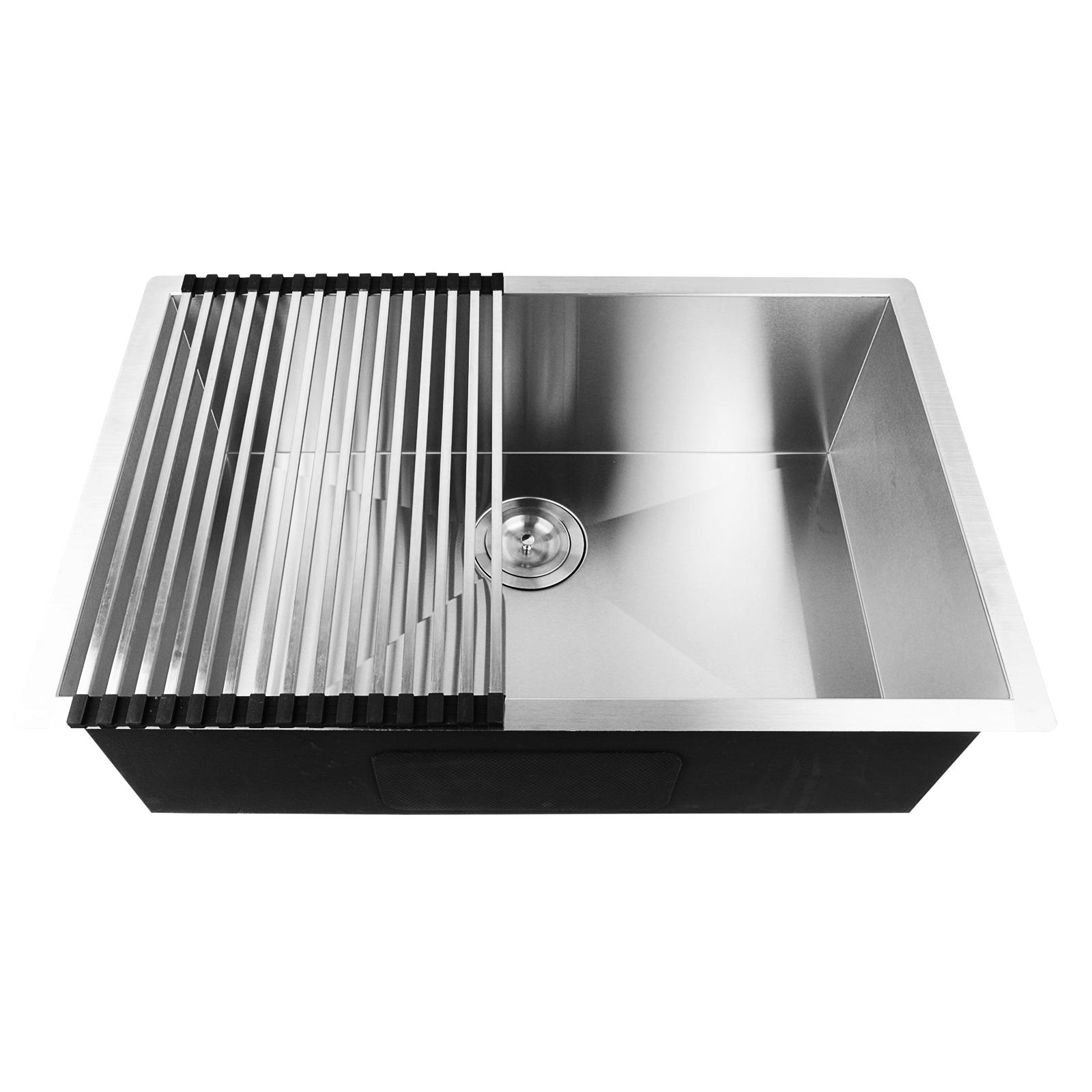 все цены на Commercial Stainless Steel Single Bowl Kitchen Sink Undermount 19 Gauge Kitchen waste stopper floor drain MAYITR