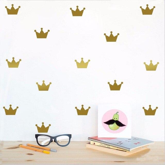 48pcs little gold crown wall sticker for kids room decor,girl boy