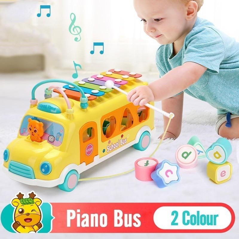 Детское пианино автобус стук детские головоломки Beat Детский Музыкальный барабан пианино стук инструменты игрушечный автобус Детские Ранние развивающие игрушки