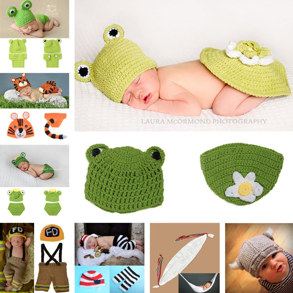 Baby Crochet Frog Hat and Pants Set Photography Props Baby Crochet Aminal Beanie Photo Costume Set Knitted Hat 1set MZS-027