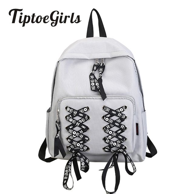 4cbecd562acc Fashion Nylon Backpack Bag Modern Girls  Bag New Design Lovely Shoelace  Design Girls Schoolbag Woman s Bag