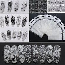 9pcs set 4x120cm Black White Lace font b Stickers b font For font b Nails b