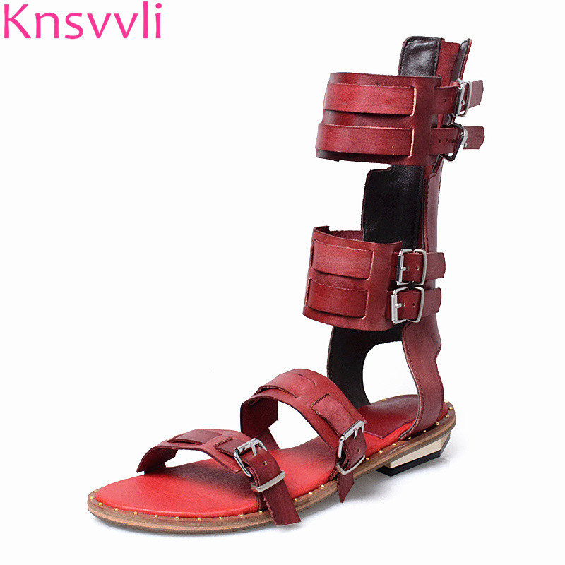 Knsvvli All-match Flat Sandals Women Summer Rome A Word Buckle Woman Shoes Retro Strap Buckle Short Cool Boots Lady rivet wind rome sandals female korean students all match flat with flip flops jelly women shoes buckle strap new fashion novelty