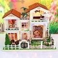 13833 Chegam Novas grandes Kits Modelo de Construção Em Miniatura Doll House villa luzes Móveis Casa De Bonecas De Madeira Diy Presente de Aniversário