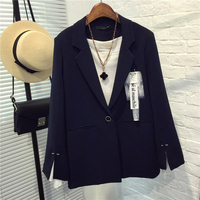 Spring Autumn Solid Split Sleeve With Button Casual Fashion Chic Suit Jacket Female Brooch Regular Length