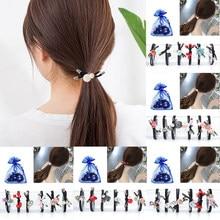 6PCS/SET cute Flowers hair bow ties Elastic rope Handmade Scrunchy women Hair Accessories set girls Ponytail holder
