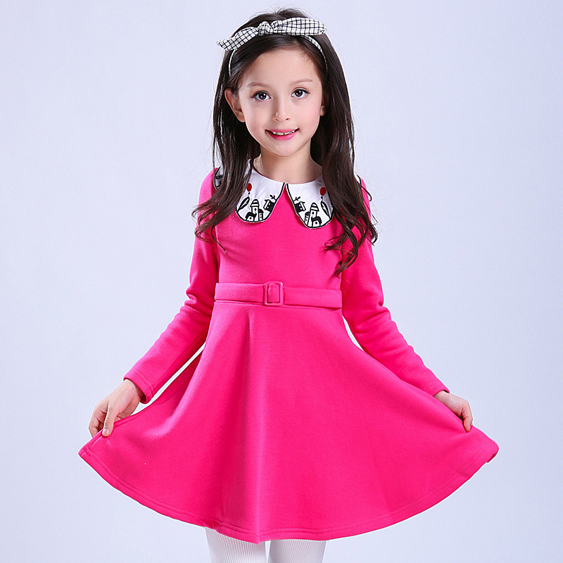 Red Festival Costume New Year Christmas Gift For Girls 3-13Years Ball Gowns Children's Fleece Dress Spring Winter Chinese Wind 4pcs new for ball uff bes m18mg noc80b s04g