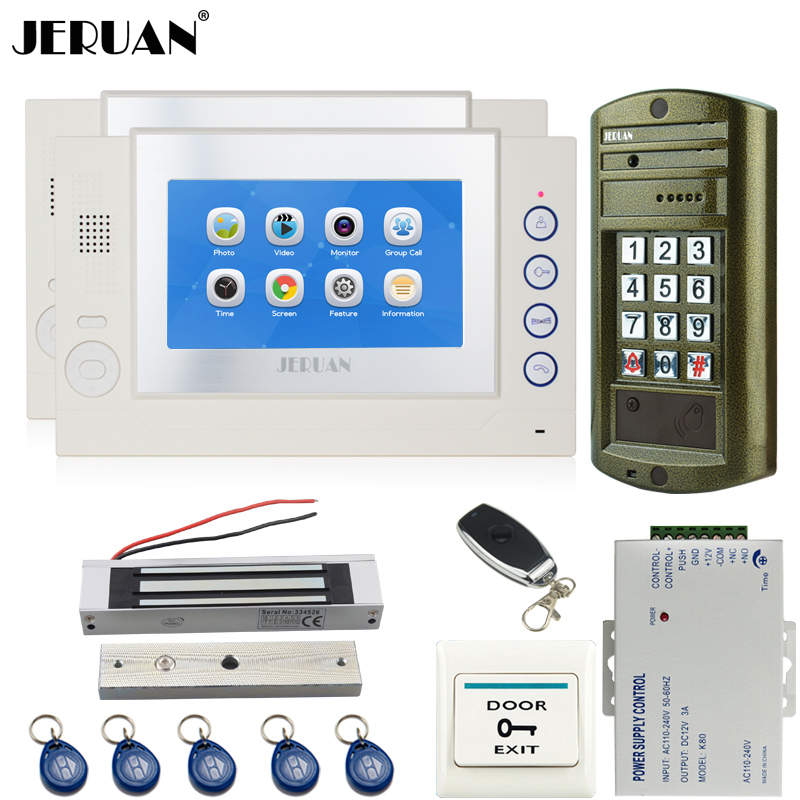 JERUAN NEW 7 inch TFT TOUCH Screen Video Door Phone Record Intercom System kit 2 Monitor +Waterproof Password HD Mini Camera 1V2 jeruan 8 inch tft video door phone record intercom system new rfid waterproof touch key password keypad camera 8g sd card e lock