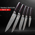 XYj 5pcs Kitchen Knives Set High Carbon 7Cr17Mov Stainless Steel Knives Fruit Utility Santoku Slicing Chef Knife Cooking Tools
