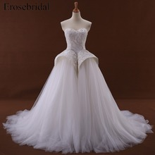 erosebridal A-Line Sleeveless Wedding Dress Court Train