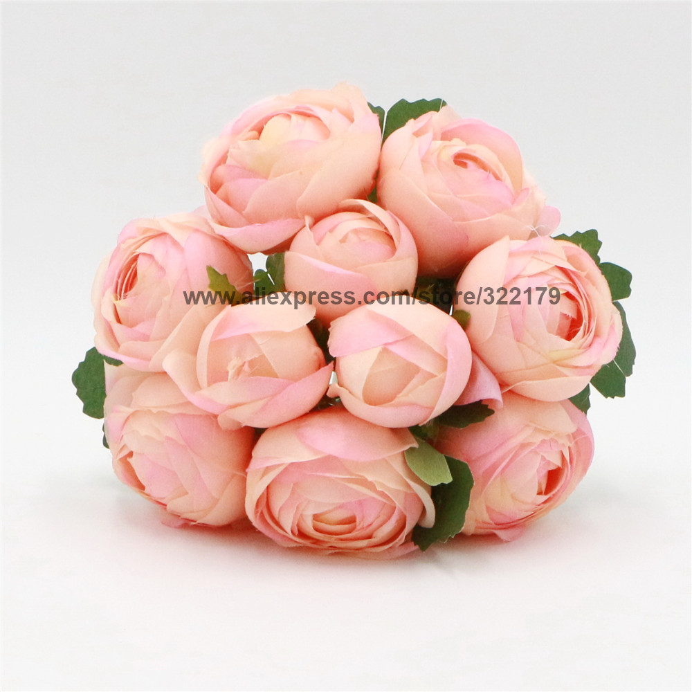 ᓂTé de seda artificial Rose Bouquet seda Peony bouquet flores ...