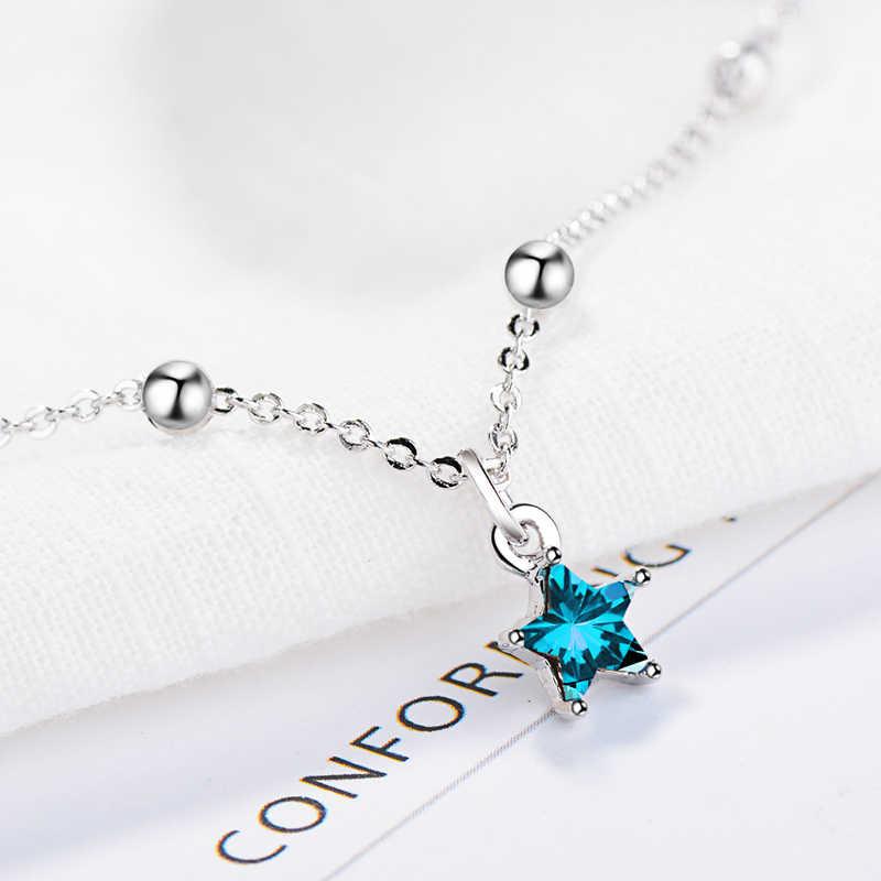KOFSAC Новая мода Стерлинговое Серебро 925 браслеты для женщин помолвка элегантный синий кристаллическая звезда браслеты Подарочные браслеты и ювелирные изделия