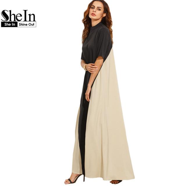 Shein casual dress completo manga vestidos de verão das senhoras preto e bloco de cor camelo mock pescoço barraca de manga curta maxi dress