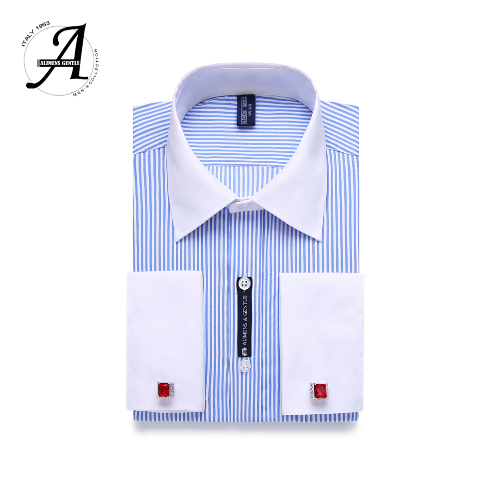 9XL 7XL 6XL Striped Men French Cufflinks Casual Dress Shirt Long Sleeved White Collar Design Style Mens French Cuff Dress Shirts