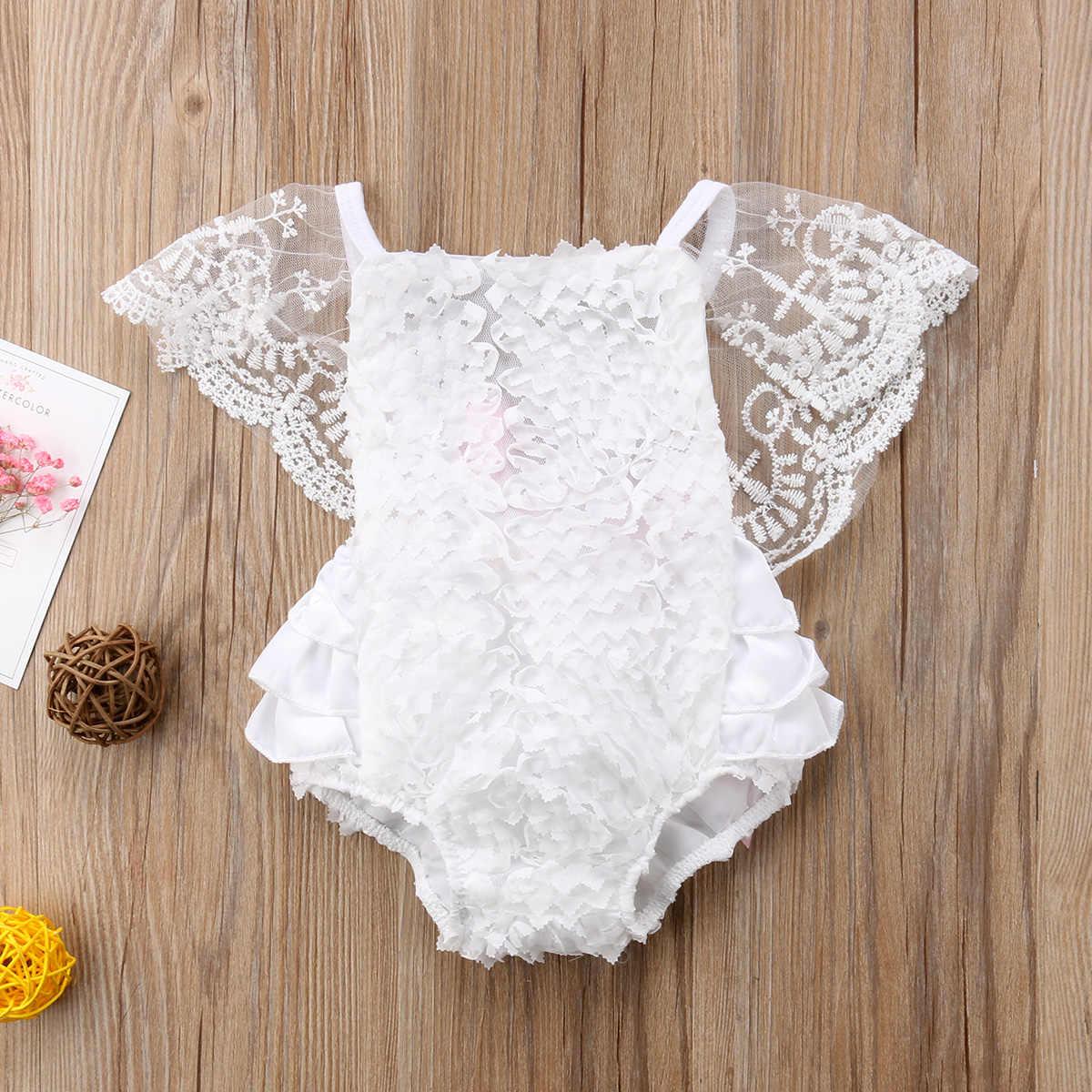 5ab6de88205 Sweet Newborn Baby Girl Rossette White Lace Romper Ruffles Sunsuit Jumpsuit  Outfits Clothes 0-18M