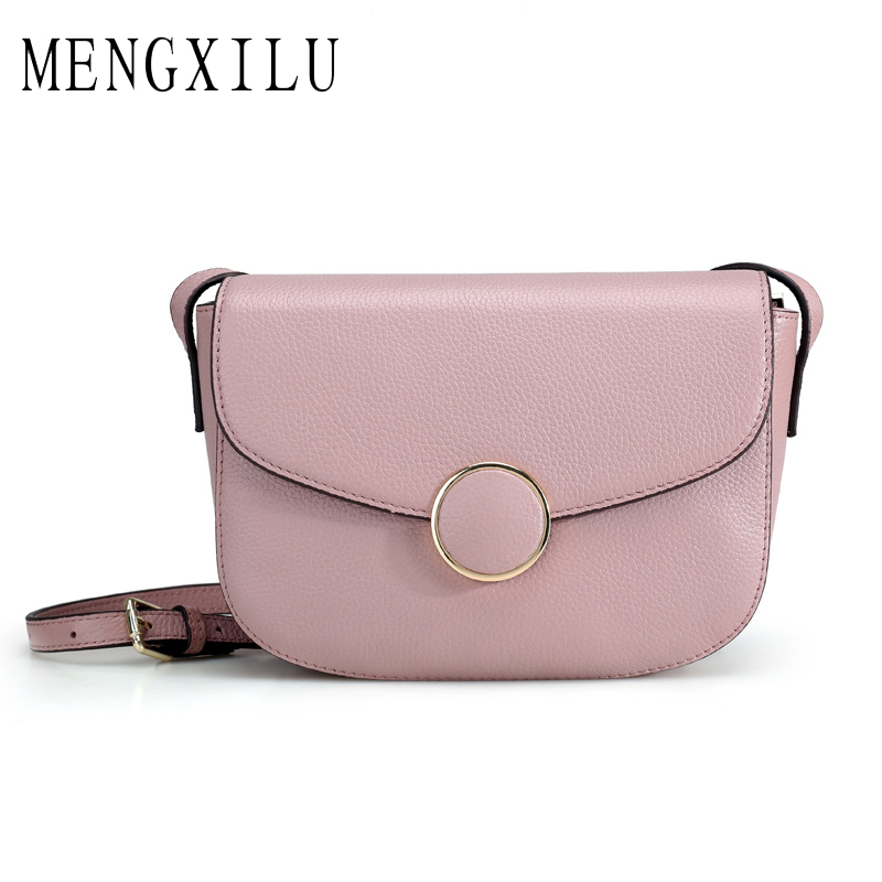 MENGXILU Real Split Leather Crossbody Bags for Women Messenger Bag Handbags Women Famous Brands Shoulder Bag Ladies Sac A Main